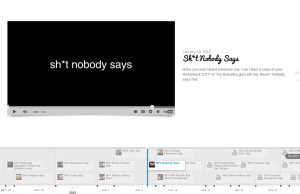 "The short-lived Youtube video fad ""Sh*t (insert adjective) People Say"" is organized chronologically using Timeline JS."